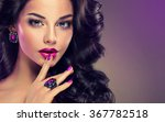 model curly hair and jewelry  ... | Shutterstock . vector #367782518