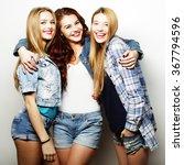 three girls smiling and having... | Shutterstock . vector #367794596