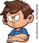 Angry Cartoon Boy. Vector Clip...