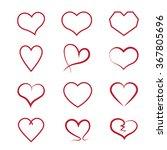 heart icons set  vector hearts... | Shutterstock .eps vector #367805696