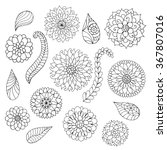 set of black and white doodle... | Shutterstock .eps vector #367807016