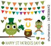 st. patricks's day vector owls... | Shutterstock .eps vector #367808642