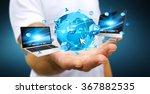businessman holding multimedia... | Shutterstock . vector #367882535