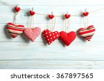 love hearts hanging on rope on... | Shutterstock . vector #367897565