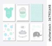 Stock vector set of cute baby shower invitation cards for newborn boy it s a boy 367901648