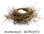Stock photo bird nest with two eggs isolated on white background 367922072