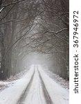 Winter Road Running Through A...