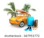 vintage car on the beach with a ... | Shutterstock . vector #367951772
