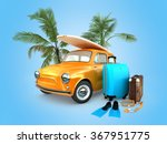 vintage car on the beach with a ... | Shutterstock . vector #367951775