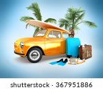 vintage car on the beach with a ... | Shutterstock . vector #367951886