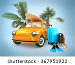 vintage car on the beach with a ... | Shutterstock . vector #367951922
