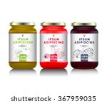 glass jar with with jam ... | Shutterstock .eps vector #367959035