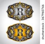 Cowboy Rodeo belt buckle design - Letter R - Alphabet initial vector design