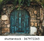 Blue Grunge Wooden Door In...