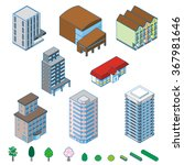 various isometric buildings ... | Shutterstock .eps vector #367981646