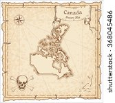 old pirate map of canada. sepia ... | Shutterstock .eps vector #368045486