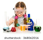 happy little girl with flasks... | Shutterstock . vector #368062016