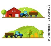 harvest on farm. tractor rides... | Shutterstock .eps vector #368084678