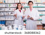 smiling pharmacist and american ... | Shutterstock . vector #368088362