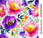 watercolor  floral pattern.... | Shutterstock . vector #368089685