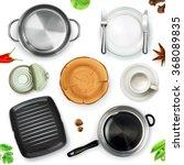 kitchen utensils  top view... | Shutterstock .eps vector #368089835