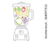 blender with fruits and berries ... | Shutterstock .eps vector #368097512