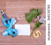 school supplies on a wooden... | Shutterstock . vector #368130785