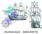 vintage ship. items on the... | Shutterstock .eps vector #368133476