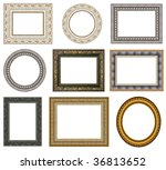 gold picture frames with a... | Shutterstock . vector #36813652