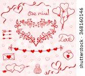 valentines doodles vector | Shutterstock .eps vector #368160146