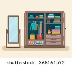 wardrobe for cloths with mirror.... | Shutterstock .eps vector #368161592