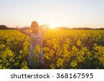 young woman enjoying summer and ... | Shutterstock . vector #368167595