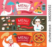 three banners with chefs and... | Shutterstock .eps vector #368202032