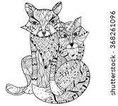 hand drawn doodle outline fox...   Shutterstock .eps vector #368261096