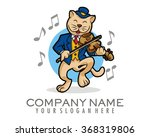 cat the violist cartoon mascot... | Shutterstock .eps vector #368319806