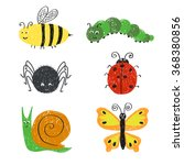 cute insects set. cartoon bee ... | Shutterstock .eps vector #368380856
