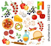 pizza ingredients italian pizza ... | Shutterstock .eps vector #368398412