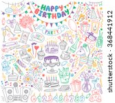 happy birthday hand drawn set.... | Shutterstock .eps vector #368441912