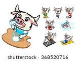 set of healthy cow cartoon... | Shutterstock .eps vector #368520716