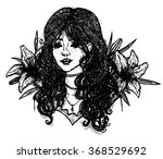 pretty girl with lilies... | Shutterstock .eps vector #368529692