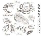 vector hand drawn seafood set   ... | Shutterstock .eps vector #368535005
