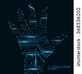circuit board shape of hand... | Shutterstock .eps vector #368536202
