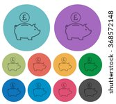 color pound piggy bank flat...