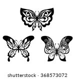 set  black white butterflies of ... | Shutterstock .eps vector #368573072
