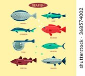 fish vector set in flat style... | Shutterstock .eps vector #368574002
