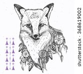 hand drawn fox with dream... | Shutterstock .eps vector #368619002