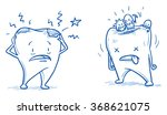 cute unhappy cartoon tooth with ... | Shutterstock .eps vector #368621075
