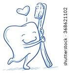 cute cartoon tooth in love... | Shutterstock .eps vector #368621102