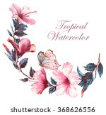 hand drawn  watercolor floral... | Shutterstock . vector #368626556