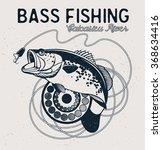 vintage bass fishing emblem ...   Shutterstock .eps vector #368634416
